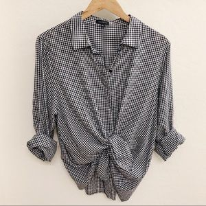 The Limited Black Gingham Button Down Shirt XL
